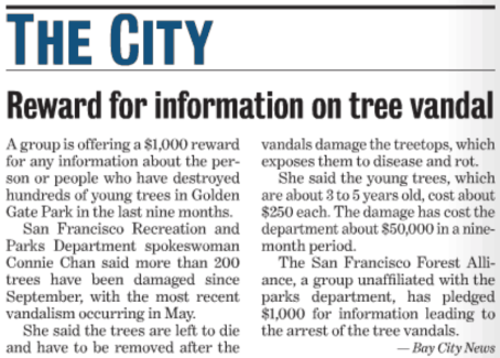 reward for information on tree vandals