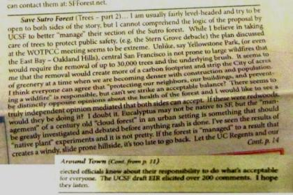 westside observer July-Aug 2013 Save Sutro Forest 1