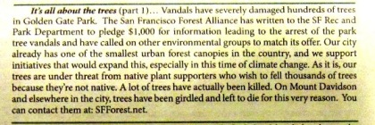 westside observer July-August 2013 SFForest announcement of $1000 reward for tree vandals