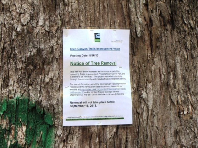 Notice posted on more than 30 trees