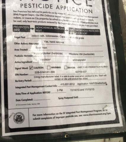Pesticide Application Notice - Mt Davidson (Nov 14 and 15th, 2013)
