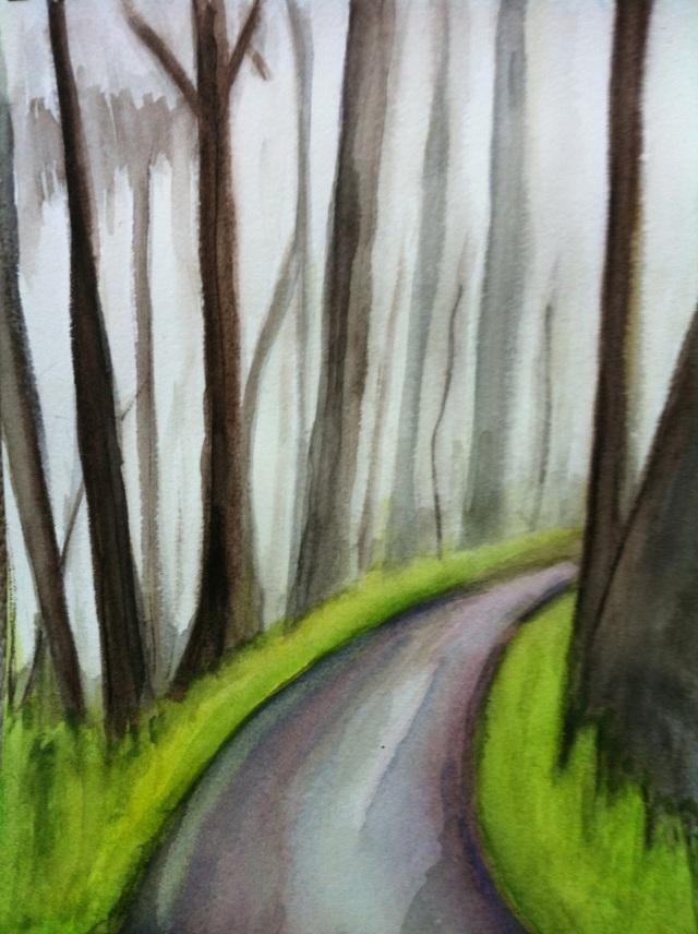 Watercolor of pathway on Mount Davidson / Lori D'Ambrosio / 2014