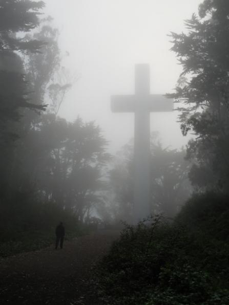 Mt Davidson Cross in the fog