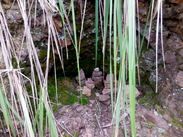 tiny cairns in a little cave - mt Davidson