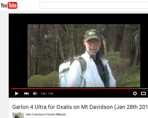 Video of Mt Davidson Garlon 4 Ultra spraying on Jan 28 2016
